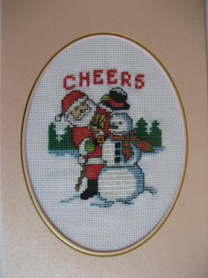 """Finished cross stitich card """"Merry Christmas"""""""