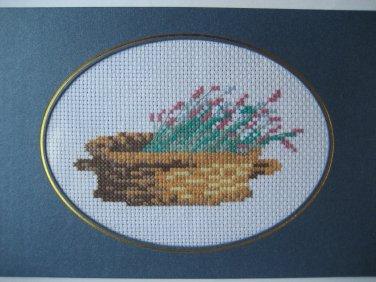 "Finished cross stitich card ""Pretty Flower"""