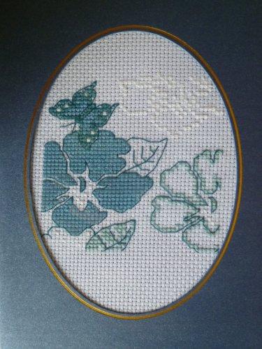 "Finished cross stitich card ""Pretty Blue Rose"""