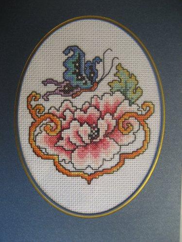 "Finished cross stitich card ""Pretty Flower & butterfly"""