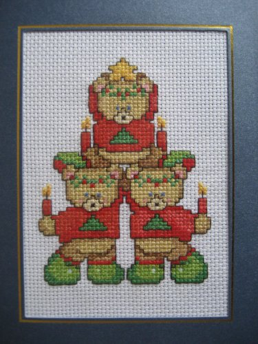 """Finished cross stitich card """"Christmas Bear"""""""
