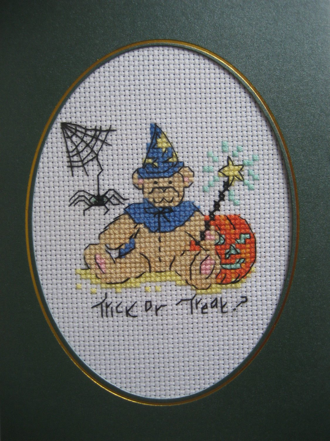 Finished cross stitich card Halloween
