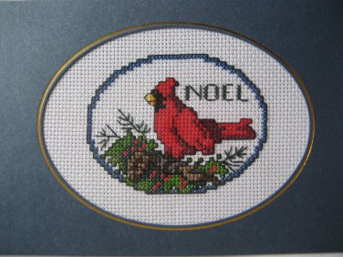 """Finished cross stitch greeting card """"NOEL"""""""