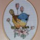 "Finished cross stitch greeting card ""flower bird"