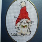 "Finished cross stitch card ""Christmas Cat"""