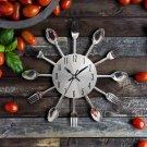 Cutlery Metal Kitchen Wall Clock Spoon Fork Creative Quartz Wall Mounted Clocks Modern Design