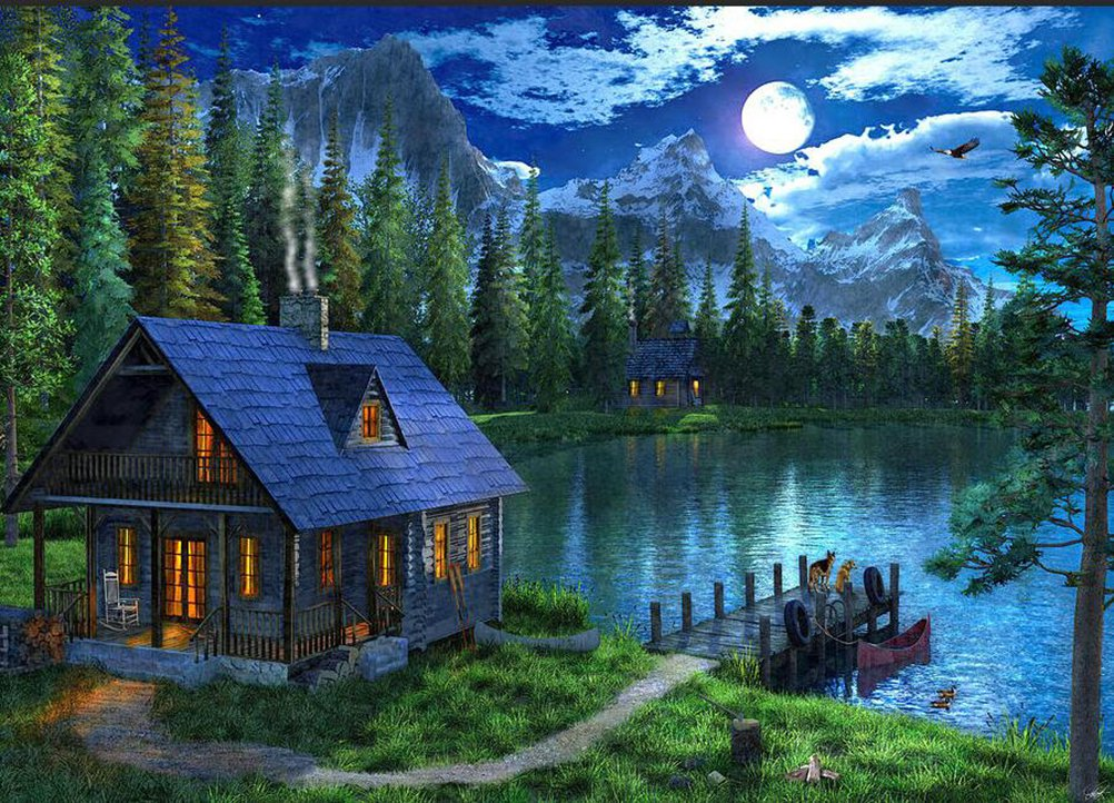 KoKoWill 5D Diamond Painting Kit, Square Full Drill Cabin Forest Lake,15.75 x 11.81 inches