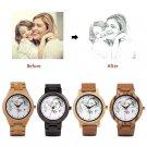 Custom Engraved Photo Wood Watch, Personalized Photo Wooden Watch, GFL-002