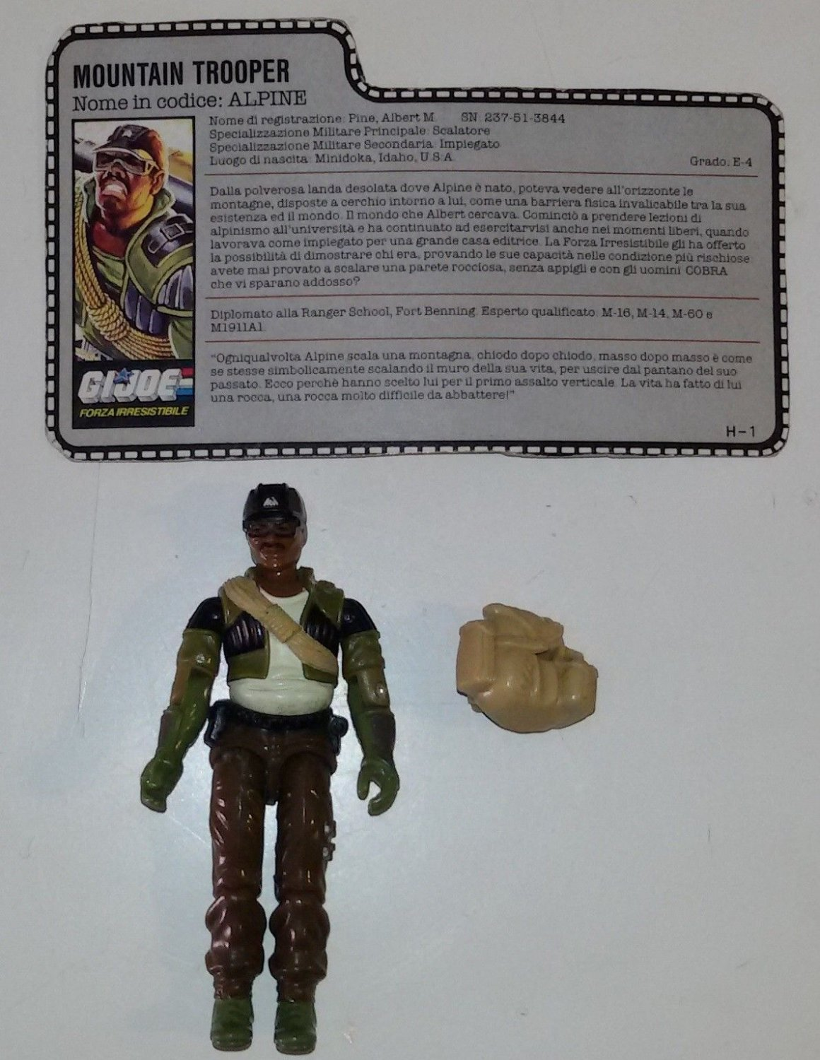 G.I. Joe Alpine Mountain Trooper Loose Action Figure Filecard Hasbro
