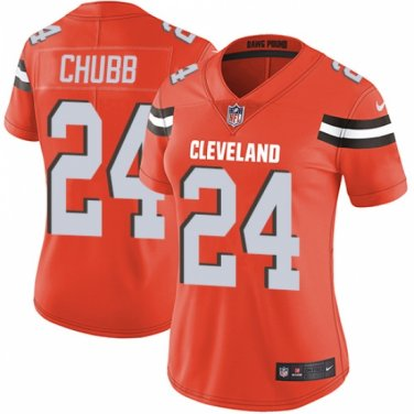 the latest 97c62 3b502 Cleveland Browns #24 Nick Chubb Women's Orange Limited Jersey
