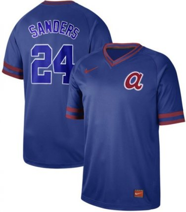 new styles 09c1c 1056e Braves #24 Deion Sanders Royal Authentic Cooperstown ...