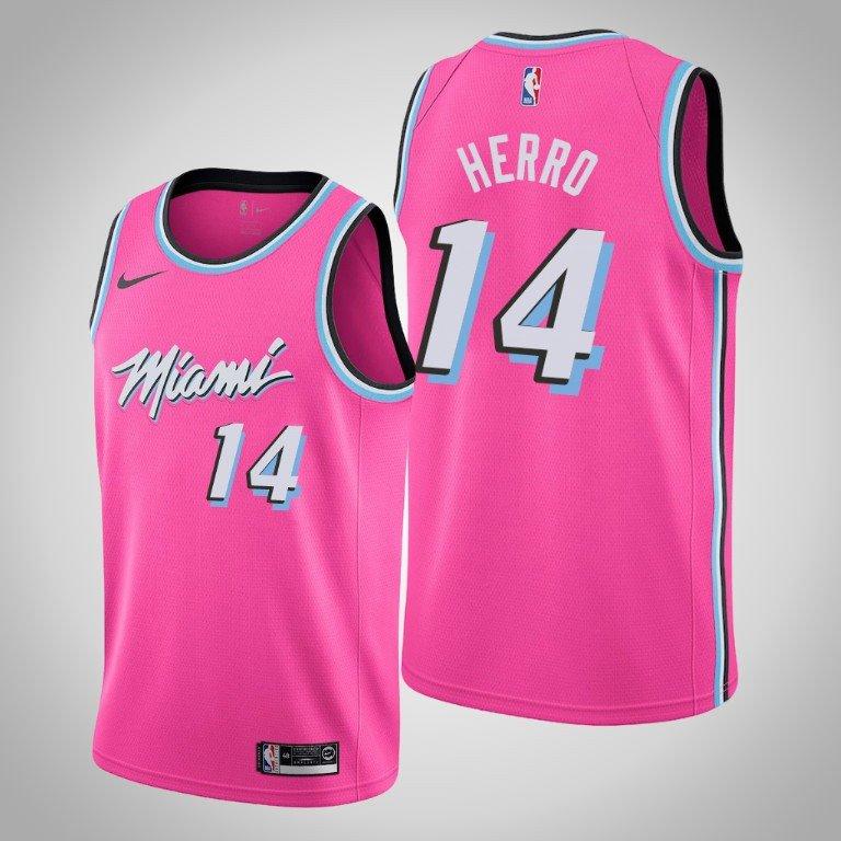 sale retailer b4098 dc591 Men's Miami Heat #14 Tyler Herro Pink Earned Jersey 2019