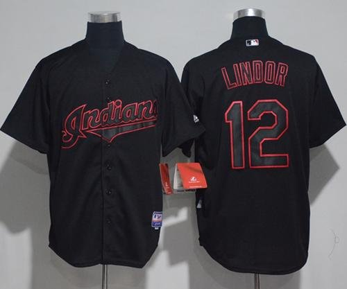 size 40 0240c 658d9 Men's Cleveland Indians #12 Francisco Lindor Black Strip ...