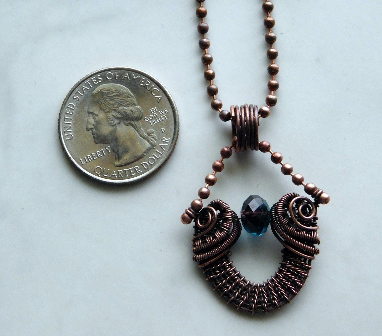 Esmeralda   Ball Chain Pendant, Copper Pendant, Wire Woven Pendant, Wi
