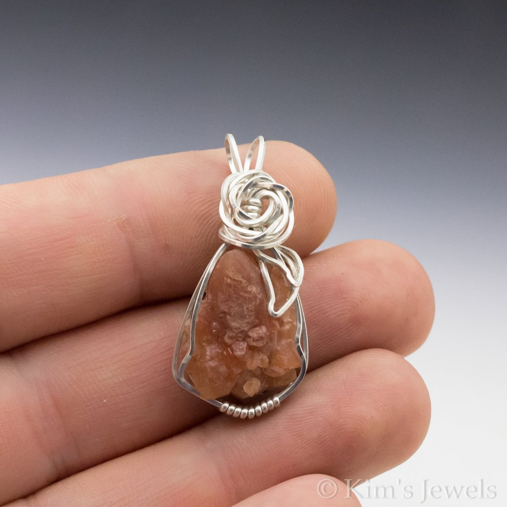 Pecos Diamond Quartz Crystal Cluster Gemstone Sterling Silver Wire Wra