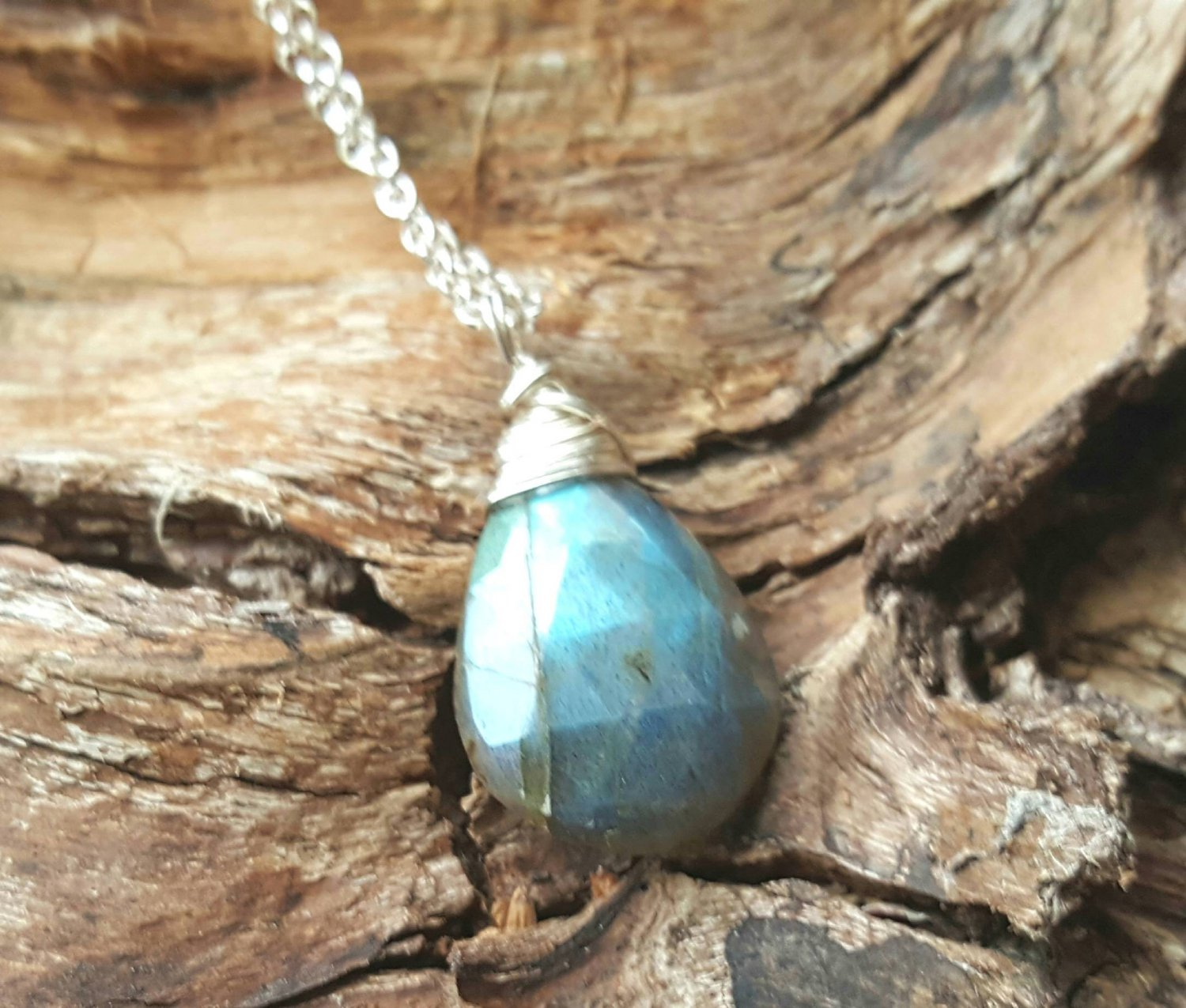 Labradorite   and sterling silver wire wrapped pendant on 16 inch ster