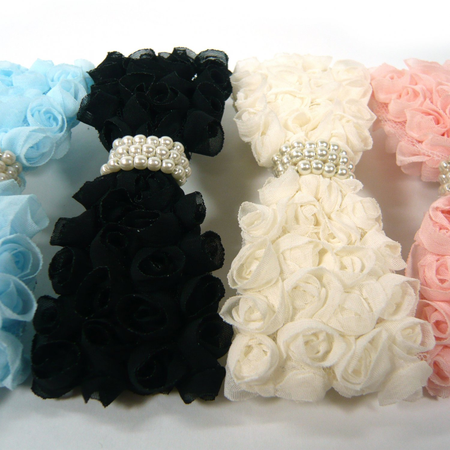 Lovely   Chiffon Floral Rose Flower Beaded Bow Faux Pearl Barrette Hai