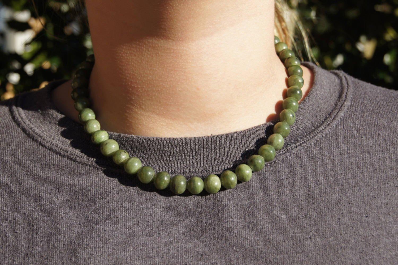 California Natural Jade Beaded Choker Necklace