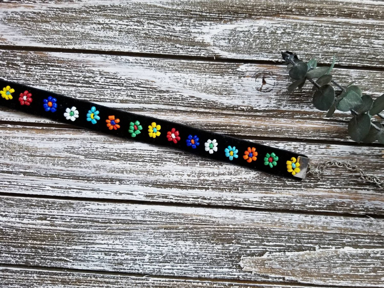 Vienna | Beaded choker collar black velvet choker with beaded flower a