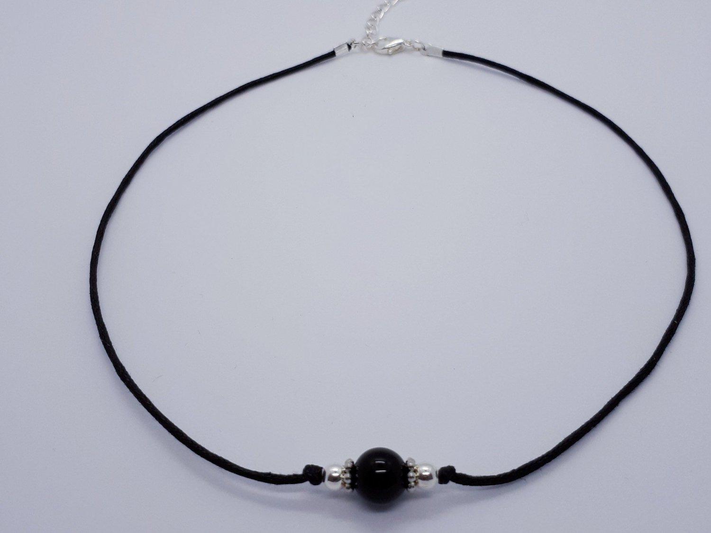 Black   Onyx beaded choker,gemstone choker,black onyx crystal choker,b
