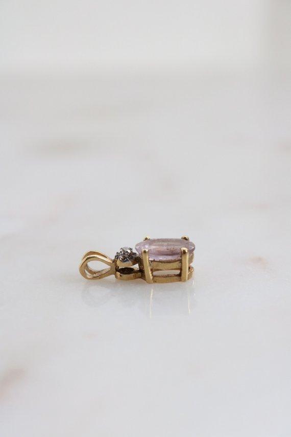 Tiny Amethyst Oval Pendant - Gold Sterling Amethyst Pendant