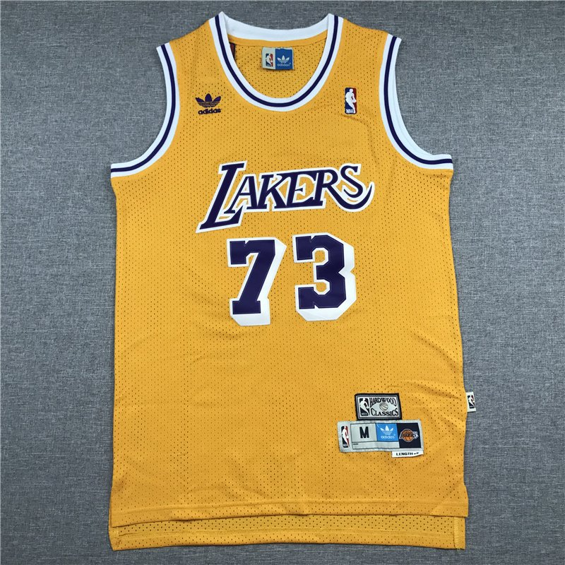 New Men/'s Los Angeles Lakers NO.73 Dennis Rodman basketball jersey retro yellow