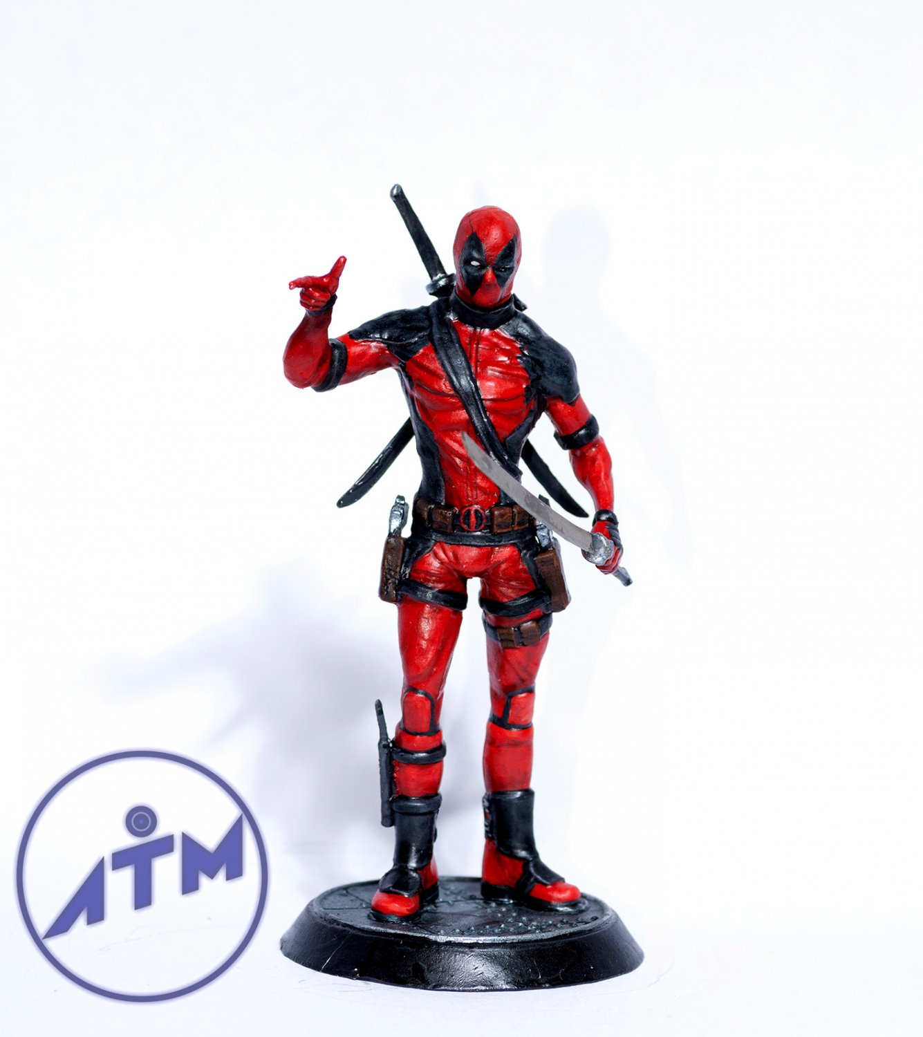 Deadpool metal figurine painting hand 75mm