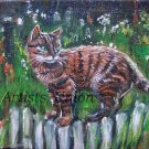 Cat Original Oil Painting Kitty Impasto Animal Art Palette Knife Garden Flowers Linen