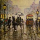 Cityscape Rain Original Oil Painting Old Town Walking People Figurative Art Red Tram Umbrella Cab