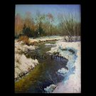 Winter Original Oil Painting Landscape River Forest Impasto Trees Snow Palette Knife Art