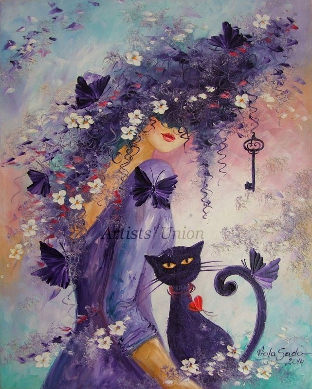 Woman Cat Butterfly Original Oil Painting Palette Knife Flowers Figurative Art Fantasy Textured