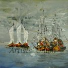Fishing Boats Original Oil Painting Seascape Contemporary Impasto Modern Palette Knife Large Square