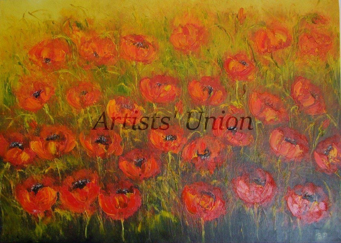 Red Poppies Meadow Original Oil Painting Modern Landscape Palette Knife Art Impasto Wild Flowers Big