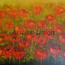 Red Poppies Meadow Original Oil Painting Modern Landscape Palette Knife Art Impasto Wild Flowers Big