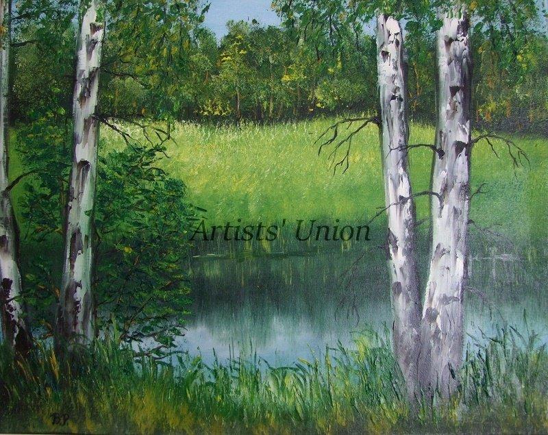 River Birches Original Oil Painting Landscape Forest Glade Trees Palette Knife Art