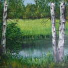 River Birches Original Oil Painting Landscape Forest Glade Trees Palette Knife Art