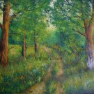 Landscape Original Oil Painting Forest Field Road Trees Meadow Green Textured Art