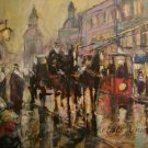 Cityscape Old Town Original Oil Painting Carriage Walking People Figurative Art Horse Red Tram
