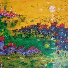 Modern Cityscape Seascape Original Oil Painting Large Contemporary Art Palette Knife Abstract Red