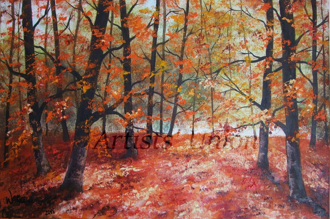Autumn Forest Original Oil Painting Landscape Fall Trees Palette Knife Art 24 inch Leaves Red Orange