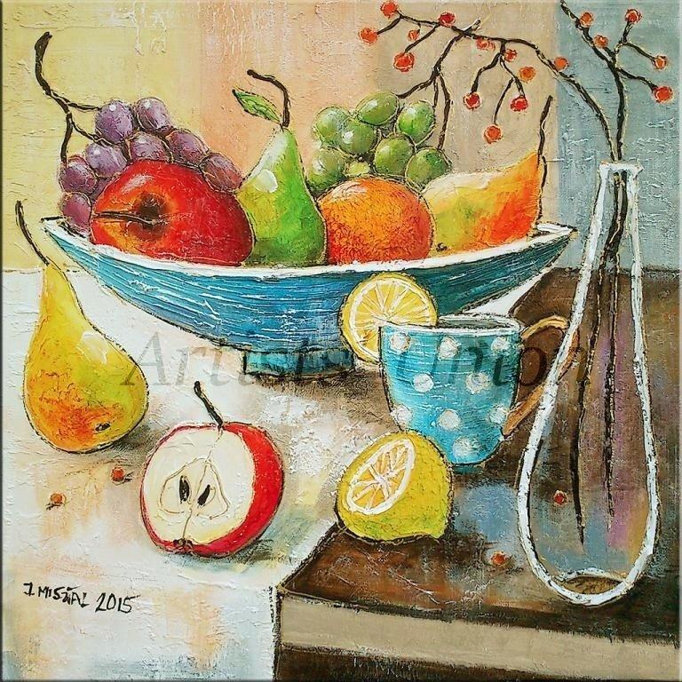 Modern Still Life Original Oil Painting Red Apple Grapes Fruits Lemon Pear Glass Bottle
