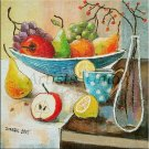 Modern Still Life Original Oil Painting Red Apple Grapes Fruits Lemon Pear Glass Bottle
