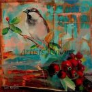 Autumn Sparrow Original Oil Painting Contemporary Bird Art Red Rose Fruits Modern Big