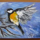 Chickadee Original Oil Painting Impasto Yellow Bird Art Animal Impressionistic Palette Textured