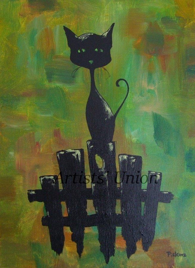 Black Cat Original Oil & Acrylic Painting by P. Piskorz Modern Animal Art Abstract Green