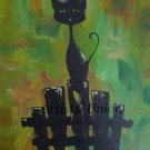 Black Cat Original Oil & Acrylic Painting by P. Piskorz Modern Animal Art Abstract Green