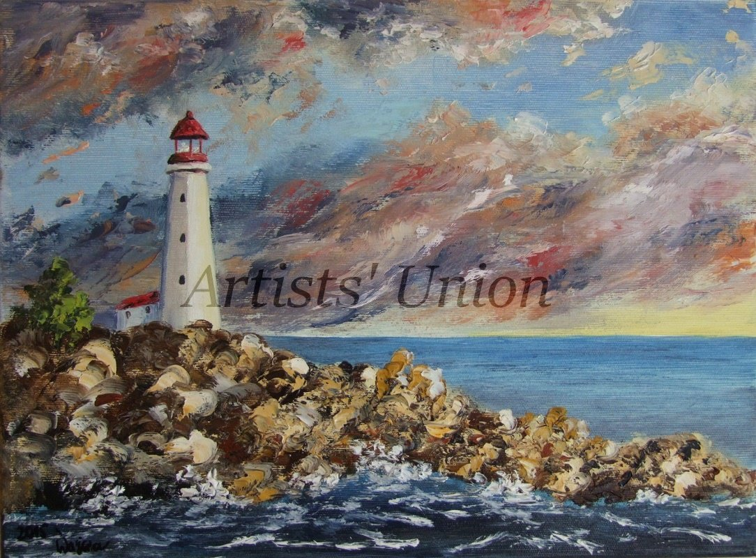 Lighthouse Original Oil Painting Seascape Impasto Palette Knife Shore Rocks Seaside Storm Clouds
