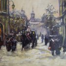 Old Town Original Oil Painting Winter Cityscape Walking People Figurative Art Cabs Horse Carriage
