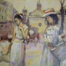 Cityscape Women Original Oil Painting Old Town Figurative Art Cabs Umbrella Palette Knife Sun Hat