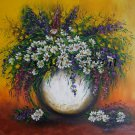 Still Life Purple Flowers Original Oil Painting White Daisies Impasto Palette Knife